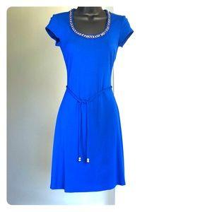 CACHE sz XS royal blue stretch cap sleeve dress